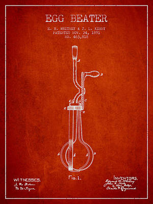Egg Beater Patent From 1891 - Red Poster