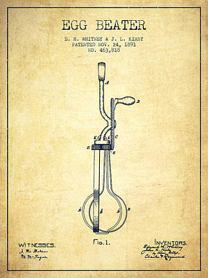 Egg Beater Patent From 1891 - Vintage Poster by Aged Pixel