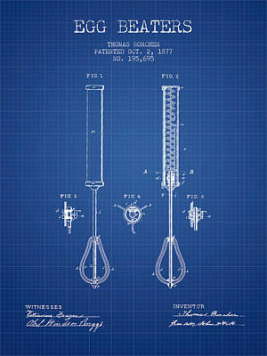 Egg Beaters Patent From 1877 - Blueprint Poster