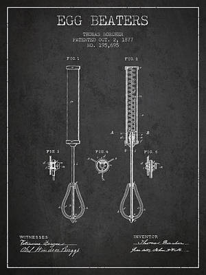 Egg Beaters Patent From 1877 - Dark Poster