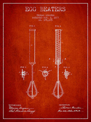Egg Beaters Patent From 1877 - Red Poster by Aged Pixel