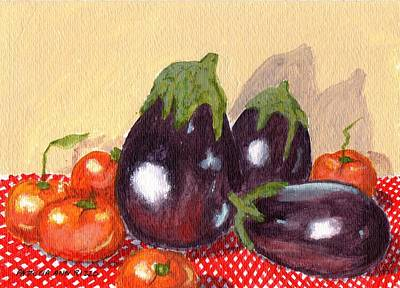 Eggplant And Tomatoes Poster by Patricia Ann Rizzo