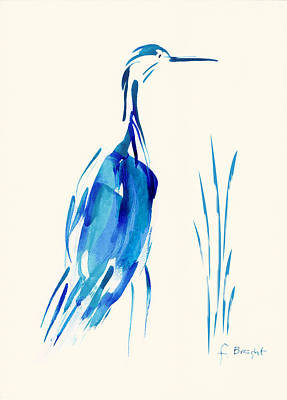 Egret In Blue Mixed Media Poster by Frank Bright
