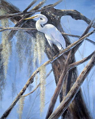 Egret Perch Poster by Mary McCullah