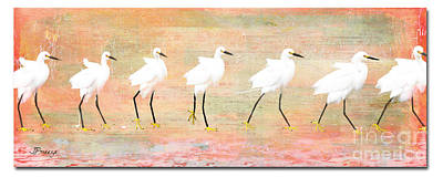Egrets Flamingoed Poster by Jennie Breeze