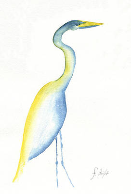 Egret's Glance Poster by Frank Bright