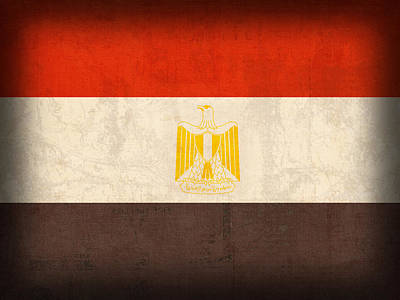 Egypt Flag Distressed Vintage Finish Poster