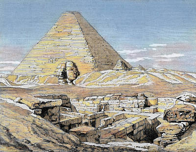 Egypt Pyramids And Sphinx Colored Poster by Prisma Archivo