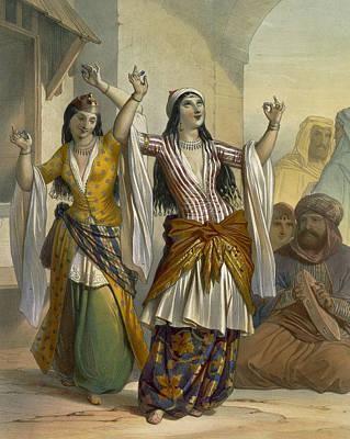 Egyptian Dancing Girls Performing Poster