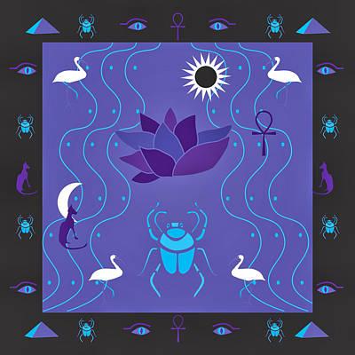 Egyptian Design - Purple Black Poster