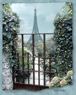 Eiffel Garden In Blue Poster