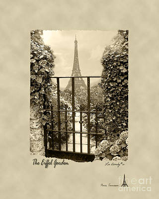 Eiffel Garden Sepia Poster