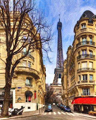 Eiffel Tower And The Streets Of Paris Poster by Mark E Tisdale