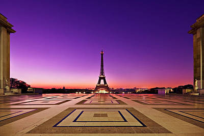 Poster featuring the photograph Eiffel Tower At Dawn / Paris by Barry O Carroll