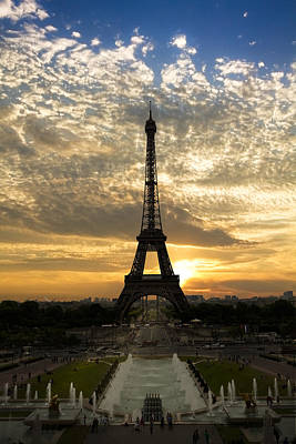 Eiffel Tower At Sunset Poster by Debra and Dave Vanderlaan