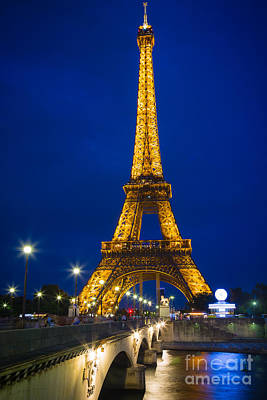 Eiffel Tower By Night Poster by Inge Johnsson