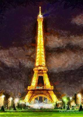 Poster featuring the digital art Eiffel Tower By Night by Kai Saarto