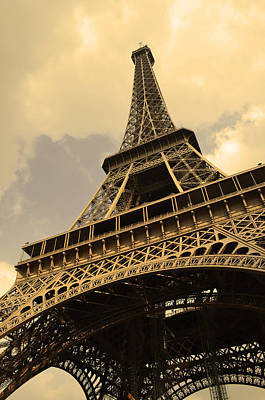 Eiffel Tower Paris France Sepia Poster by Patricia Awapara