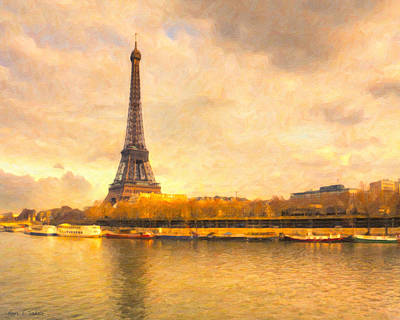 Eiffel Tower - Paris In Pastel Poster by Mark E Tisdale