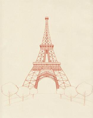 Eiffel Tower Blush Poster