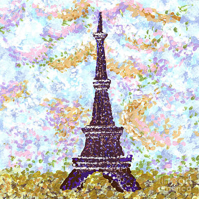 Eiffel Tower Pointillism Poster by Kristie Hubler
