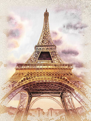 Poster featuring the painting Eiffel Tower Vintage Art by Irina Sztukowski