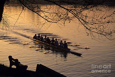 Eight Man Crew Rowing Along Montlake Cut  Poster