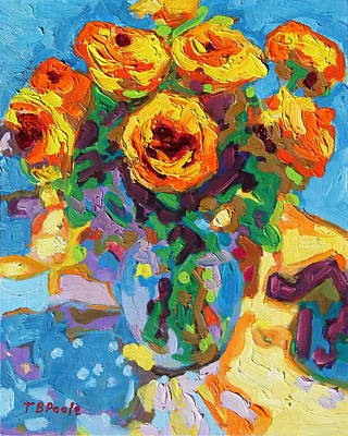 Eight Yellow Roses Oil Painting Bertram Poole Apr14 Poster by Thomas Bertram POOLE