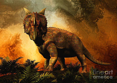 Einiosaurus Was A Ceratopsian Dinosaur Poster by Philip Brownlow