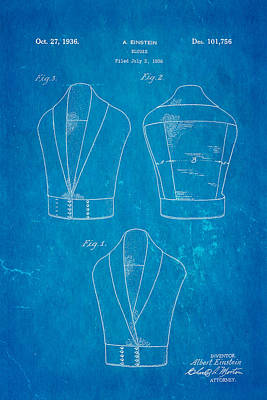Einstein Blouse Waistcoat Patent Art 1936 Blueprint Poster by Ian Monk