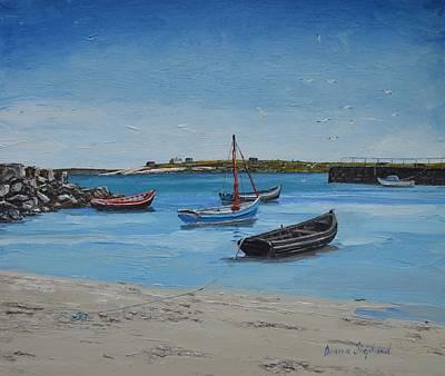 Eirlough Boats Roundstone Connemara Ireland Poster