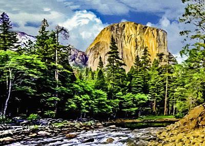 El Capitan Yosemite River Painting Poster