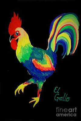 Poster featuring the painting El Gallo by Marisela Mungia