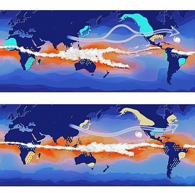 El Nino And La Nina Compared Poster by Claus Lunau