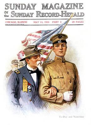 Elderly Civil War Veteran Holding Onto Poster