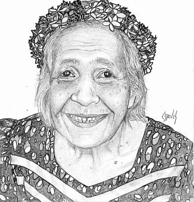 Poster featuring the drawing Elderly Marshallese Woman by Lew Davis
