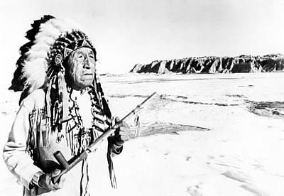 Elderly Native American In Desert Poster
