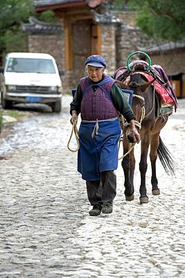 Elderly Naxi Woman With Her Horse Poster by Tony Camacho