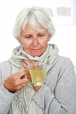 Elderly Woman Drinking Hot Lemon Poster by Lea Paterson