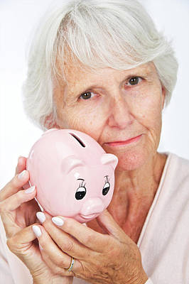 Elderly Woman With A Piggy Bank Poster