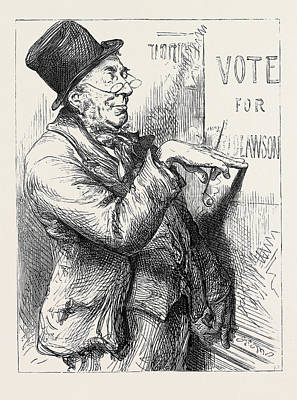 Election Sketches Local Option 1880 Poster by English School