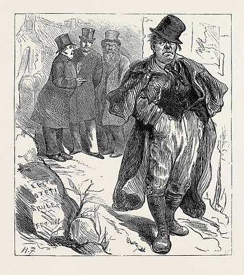 Election Sketches The Irish Vote 1880 Poster by English School