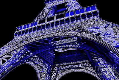 Electric Blue Eiffel Tower  Poster