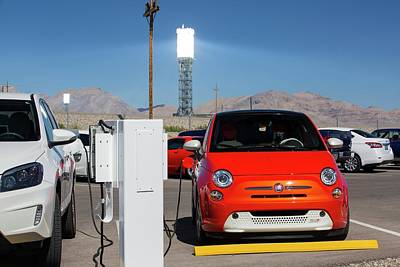 Electric Cars Being Recharged Poster by Ashley Cooper