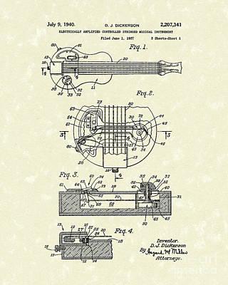 Electric Guitar 1940 Patent Art Poster