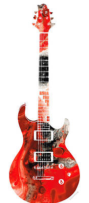 Electric Guitar - Buy Colorful Abstract Musical Instrument Poster by Sharon Cummings