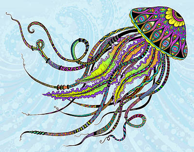 Electric Jellyfish Poster by Tammy Wetzel