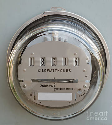 Electric Power Supply Watthour Meter Glass Covered Poster