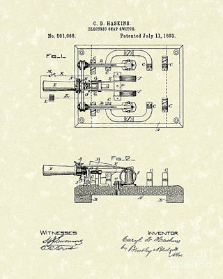 Electric Switch 1893 Patent Art Poster by Prior Art Design