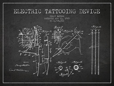 Electric Tattooing Device Patent From 1929 - Charcoal Poster